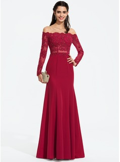 Trumpet/Mermaid Off-the-Shoulder Floor-Length Stretch Crepe Prom Dresses With Beading (018187225)