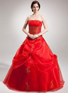 Duchesse-Linie Trägerlos Bodenlang Organza Quinceañera Kleid (Kleid für die Geburtstagsfeier) mit Bestickt Perlen verziert Pailletten (021016379)