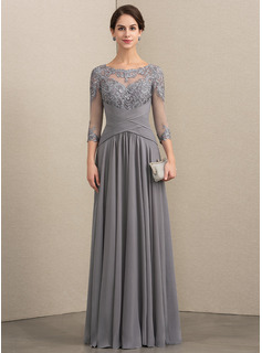 A-Line Scoop Neck Floor-Length Chiffon Lace Evening Dress With Ruffle (017192568)