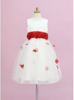 A-Line/Princess Ankle-length Flower Girl Dress - Organza/Satin/Tulle Sleeveless Scoop Neck With Sash/Flower(s)/Bow(s) (010005345)