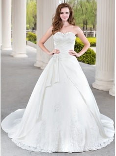 Ball-Gown Sweetheart Chapel Train Satin Wedding Dress With Beading Appliques Lace Cascading Ruffles (002000471)