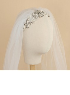 One-tier Cut Edge Elbow Bridal Veils With Rhinestones (006190604)