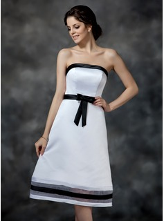 A-Line/Princess Strapless Knee-Length Organza Satin Bridesmaid Dress With Sash Bow(s) (007000903)