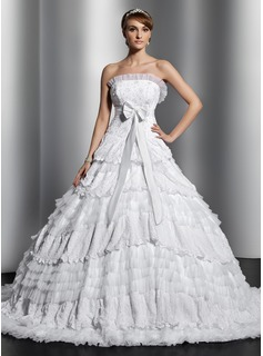 Ball-Gown Strapless Chapel Train Satin Tulle Lace Wedding Dress With Beading Bow(s) Pleated (002014829)