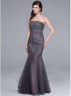 Trumpet/Mermaid Strapless Floor-Length Tulle Evening Dress (017025465)