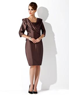Etui-Linie Trägerlos Knielang Taft Kleid für die Brautmutter (008006168)