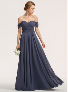 A-Line Off-the-Shoulder Floor-Length Chiffon Bridesmaid Dress With Ruffle (007190688)
