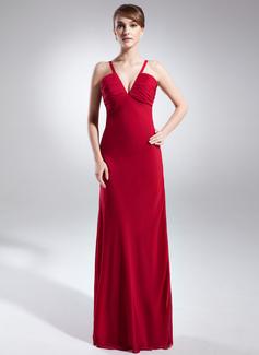 Etui-Linie V-Ausschnitt Bodenlang Chiffon Abendkleid mit Rüschen (008015880)