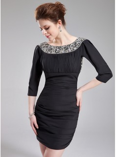 Robe de Bal de Promo Gaine Col rond Court/Mini Mousseline Robe de Bal de Promo avec Brod (018019102)