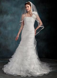 Forme Sirène/Trompette Encolure asymétrique Traîne courte Organza Robe de mariée avec Fleur(s) Robe à volants (002000626)
