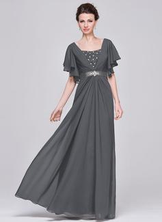 A-Linie Schatz Bodenlang Chiffon Kleid für die Brautmutter mit Rüschen Perlstickerei Pailletten (008058416)