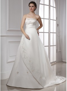 A-Line/Princess Strapless Chapel Train Satin Wedding Dress With Embroidered Ruffle (002015477)