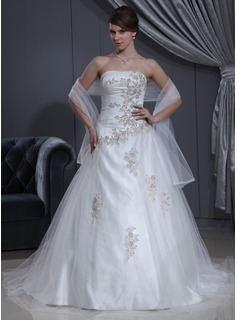 Ball-Gown Sweetheart Chapel Train Tulle Charmeuse Wedding Dress With Ruffle Lace Beadwork (002000280)