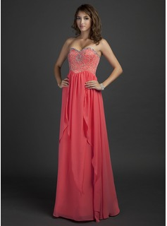 A-Line/Princess Sweetheart Floor-Length Chiffon Holiday Dress With Beading (020025945)