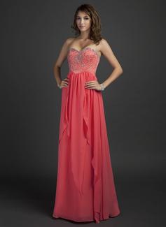 A-Linie/Princess-Linie Herzausschnitt Bodenlang Chiffon Festliche Kleid mit Perlen verziert (020025945)