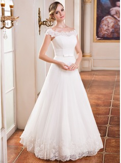 A-Line/Princess Off-the-Shoulder Floor-Length Tulle Wedding Dress With Ruffle Lace Beading Sequins (002041151)