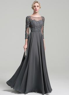 A-Linie/Princess-Linie U-Ausschnitt Bodenlang Chiffon Kleid für die Brautmutter mit Perlstickerei Pailletten (008091949)