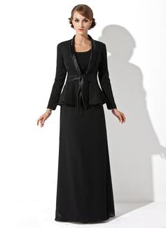 Vestido tubo Escote redondo Hasta el suelo Chifón Vestido de madrina (008005947)