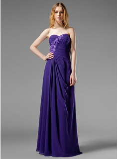 Prom Dresses A-Line/Princess Sweetheart Floor-Length Chiffon Evening Dress With Ruffle Beading Appliques (017004313)