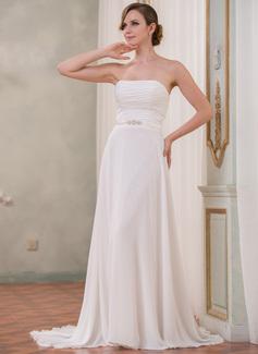 Forme Princesse Sans bretelle Traîne moyenne Mousseline Charmeuse Robe de mariée avec Plissé Emperler (002051624)