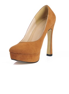 Suede Chunky Heel Pumps Plateau Closed Toe schoenen (085017481)