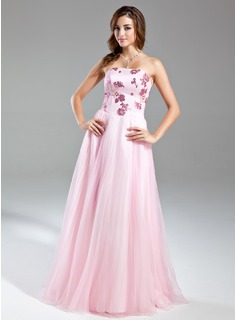 A-Line/Princess Strapless Floor-Length Organza Satin Prom Dress With Beading (018015551)