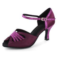 Frauen Satin Funkelnde Glitzer Heels Sandalen Latin mit Knöchelriemen Tanzschuhe (053021562)