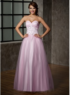 A-Line/Princess Sweetheart Floor-Length Satin Tulle Prom Dress With Lace (018005099)