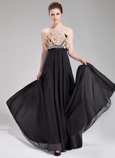 Empire-Linie Trägerlos Bodenlang Chiffon Abendkleid mit Perlen verziert Blumen (017019764)