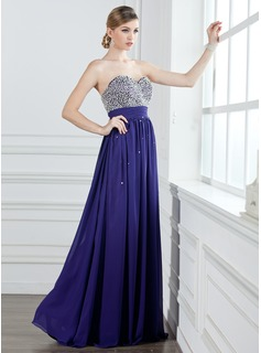 Prom Dresses A-Line/Princess Sweetheart Floor-Length Chiffon Prom Dress With Ruffle Beading Sequins (018004908)
