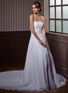 Forme Princesse Sans bretelle Traîne chappelle Mousseline Robe de mariée avec Plissé Emperler (002000505)
