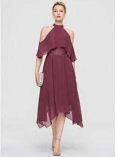 A-Line High Neck Asymmetrical Chiffon Cocktail Dress With Lace (016189319)