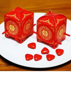 Red Sedan Chair Cubic Favor Boxes (Set of 12) (050012948)