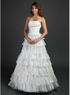 Ball-Gown Strapless Floor-Length Organza Satin Wedding Dress With Lace Cascading Ruffles (002015382)