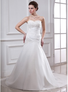 A-Line/Princess Sweetheart Chapel Train Taffeta Organza Wedding Dress With Ruffle Lace Beading (002000151)