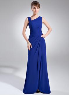 Etui-Linie V-Ausschnitt Bodenlang Chiffon Kleid für die Brautmutter mit Rüschen Perlstickerei Schlitz Vorn (008006887)