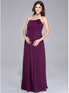 Empire Strapless Floor-Length Chiffon Maternity Bridesmaid Dress With Flower(s) Cascading Ruffles (007026199)