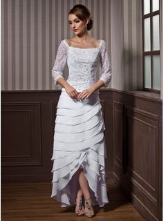 A-Line/Princess Square Neckline Asymmetrical Chiffon Wedding Dress With Lace Beading Cascading Ruffles (002012184)