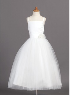 A-Line/Princess Square Neckline Ankle-Length Satin Tulle Flower Girl Dress With Flower(s) (010004208)