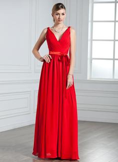 A-Linie/Princess-Linie V-Ausschnitt Bodenlang Chiffon Abendkleid mit Rüschen Schleife(n) (017022550)