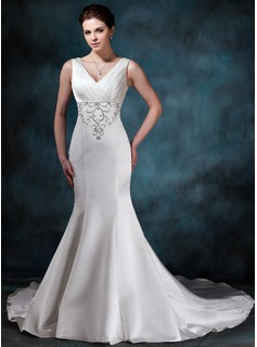 Mermaid V-neck Chapel Train Satin Wedding Dress With Embroidery Ruffle Beadwork (002000047)