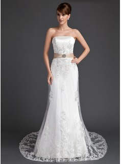 Trumpet/Mermaid Strapless Court Train Satin Tulle Wedding Dress With Lace Sash Crystal Brooch Sequins (002011998)