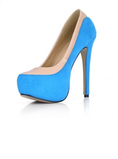 Suede Stiletto Heel Pumps Platform Closed Toe shoes (085022630)