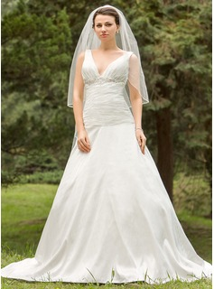 A-Line/Princess V-neck Chapel Train Taffeta Wedding Dress With Ruffle Lace Beading (002024694)