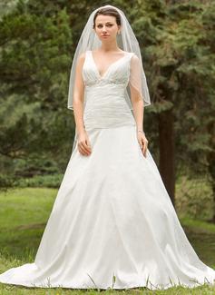 A-Line/Princess V-neck Chapel Train Taffeta Wedding Dress With Ruffle Beading Appliques Lace (002024694)