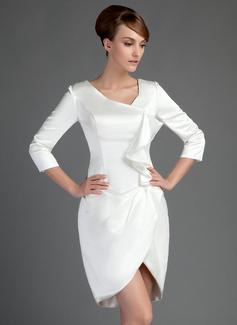 Etui-Linie Kurz/Mini Charmeuse Kleid für die Brautmutter mit Gestufte Rüschen (008015722)