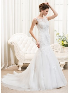 Trumpet/Mermaid Scoop Neck Court Train Tulle Lace Wedding Dress With Beading Sequins (002054374)