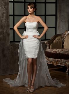 Forme Fourreau Bustier en coeur Traîne asymétrique Détachable Organza Robe de mariée avec Plissé Fleur(s) (002011463)