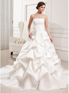 Ball-Gown Strapless Cathedral Train Satin Organza Wedding Dress With Ruffle Flower(s) (002011426)