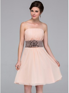 Chiffon Strapless Knee-length A-Line Bridesmaid Dress (007037256)